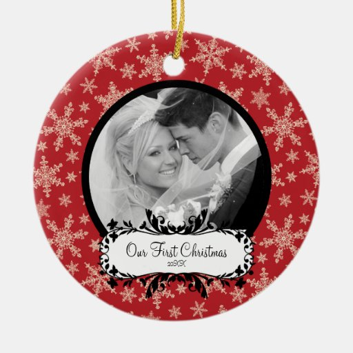 First Christmas Photo Ornament Snowflakes Red