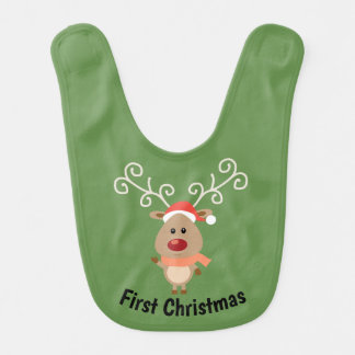 First Christmas Reindeer Bib