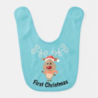 First Christmas Reindeer Bib