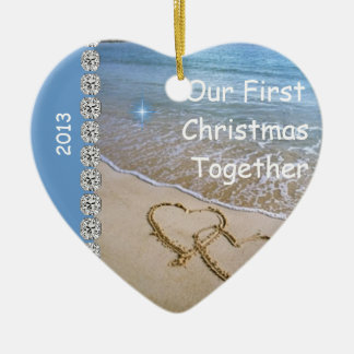 First Christmas TOGETHER BEACH 2013 CUSTOM ORNAMEN Double-Sided Heart Ceramic Christmas Ornament
