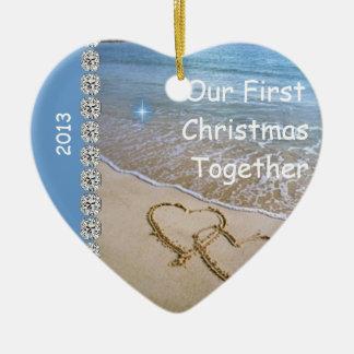 First Christmas TOGETHER BEACH 2013 CUSTOM ORNAMEN Ceramic Heart Ornament