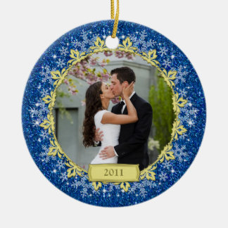 First Christmas Together Blue Snowflake Photo Round Ceramic Ornament