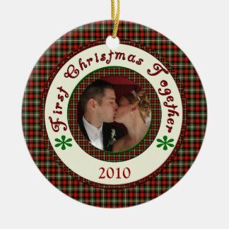 First Christmas Together Custom Holiday Photo Date Ceramic Ornament