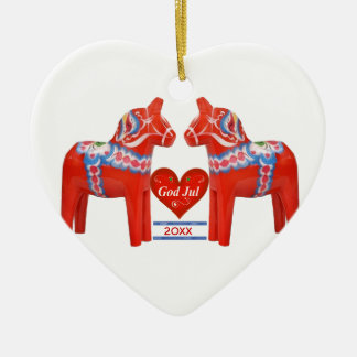 First Christmas Together Dated Swedish Dala Horse Ceramic Heart Ornament