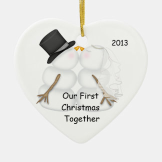 First Christmas Together SNOWMAN COUPLE 2013 Ceramic Heart Ornament