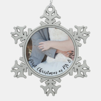 First Christmas Wedding Couple Photo Simple Snowflake Pewter Christmas Ornament