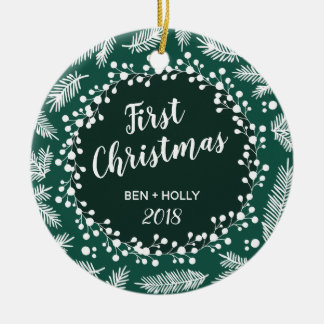 First Christmas Wedding Evergreen Personalized Ceramic Ornament