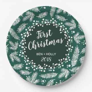 First Christmas Wedding Evergreen Personalized Paper Plate