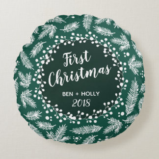 First Christmas Wedding Evergreen Personalized Round Pillow