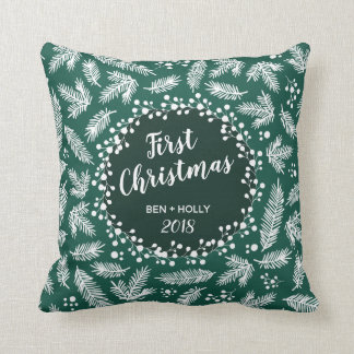 First Christmas Wedding Evergreen Personalized Throw Pillow