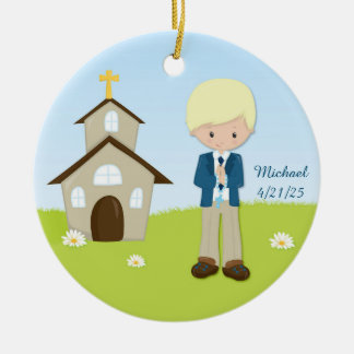 First Communion, Blonde Boy, Church Ceramic Ornament