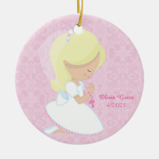 First Communion, Blonde Girl Ceramic Ornament
