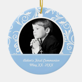 First Communion Blue Photo Ornament
