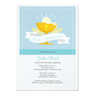 First Communion Blue Polkadot Invitation