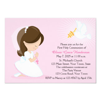 "First Communion, Brunette Girl, Pink 5"" X 7"" Invitation Card"