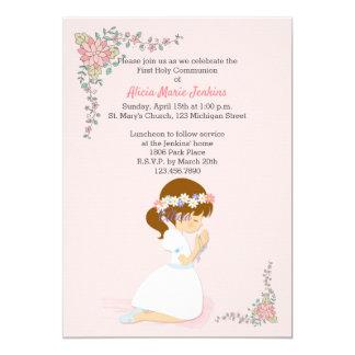 First Communion Brunette Girl Pink Invitation
