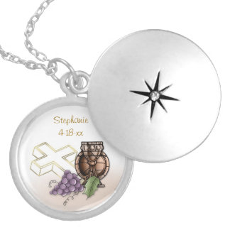First Communion Chalice, Cross, Grapes Locket Necklace