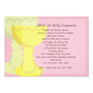 First Communion Chalice 5x7 Paper Invitation Card