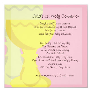 First Communion Chalice 5.25x5.25 Square Paper Invitation Card