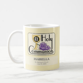 First Communion Grapes and Cup, Customizable Coffee Mug