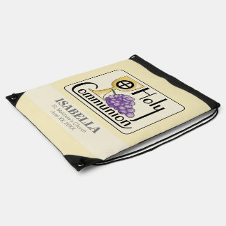 First Communion Grapes and Cup, Customizable Drawstring Bag