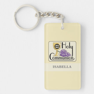 First Communion Grapes and Cup, Customizable Keychain