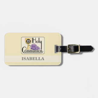 First Communion Grapes and Cup, Customizable Luggage Tag