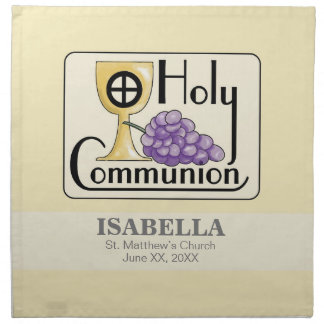 First Communion Grapes and Cup, Customizable Napkin