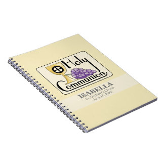 First Communion Grapes and Cup, Customizable Notebook