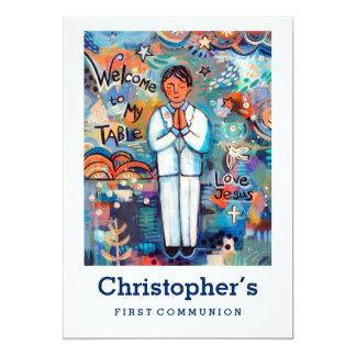First Communion Invitation, Customizable for Boy