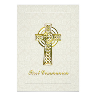 "First Communion Ivory Damask Gold Cross 5"" X 7"" Invitation Card"