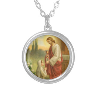 First Communion Jewelry: Eucharist in All Things Silver Plated Necklace