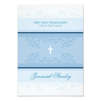 FIRST COMMUNION modern elegant swirls curls blue Card