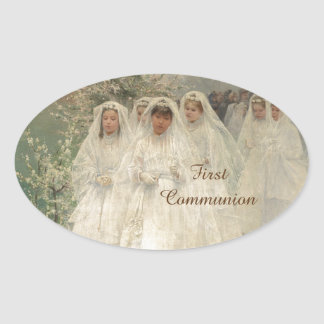 First Communion Oval Sticker