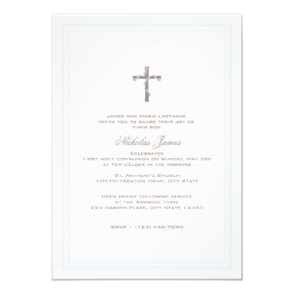"""First Communion Soft Blue and Brown 5"""" X 7"""" Invitation Card"""