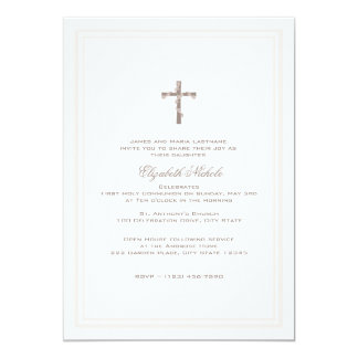 """First Communion Soft Pink and Brown 5"""" X 7"""" Invitation Card"""