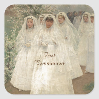 First Communion Square Sticker
