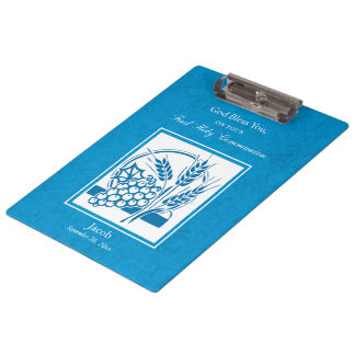 First Communion, Wheat, Grapes Blue Clipboard