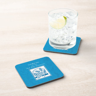 First Communion, Wheat, Grapes Blue Coaster