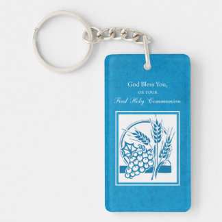 First Communion, Wheat, Grapes Blue Keychain