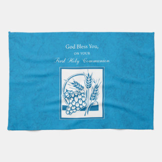 First Communion, Wheat, Grapes Blue Kitchen Towel