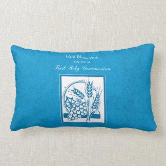First Communion, Wheat, Grapes Blue Lumbar Pillow