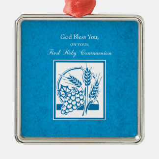First Communion, Wheat, Grapes Blue Metal Ornament