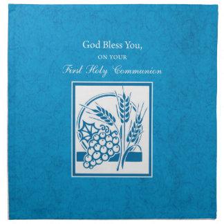 First Communion, Wheat, Grapes Blue Napkin