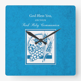 First Communion, Wheat, Grapes Blue Square Wall Clock