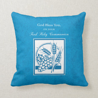 First Communion, Wheat, Grapes Blue Throw Pillow