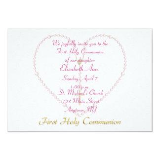 First CommunionPink Rosary Beads Heart Card