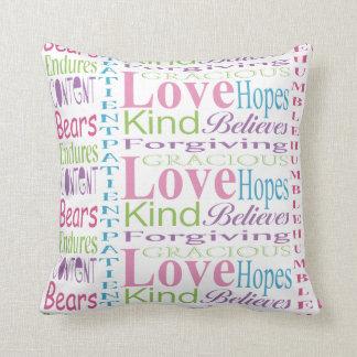 First Corinthians Love Words Decorative Text Throw Pillow