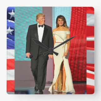 First Couple Donald and Melania Trump Liberty Ball Square Wall Clock