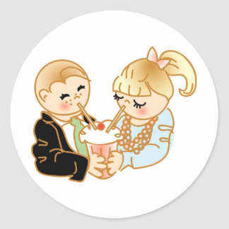 First Date Memories Classic Round Sticker